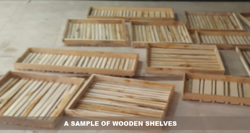A sample of wooden shelves